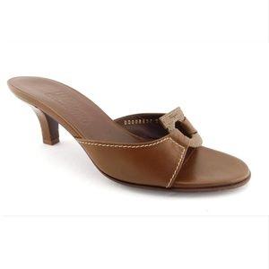FERRAGAMO Brown Tan Logo Leather Slide Sandals 7.5